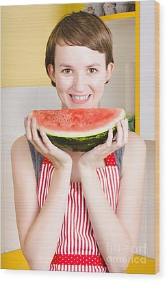 Smiling Young Woman Eating Fresh Fruit Watermelon Wood Print by Jorgo Photography - Wall Art Gallery