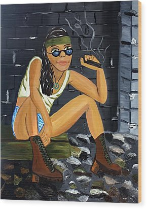 Smoke Break  Wood Print by Victoria  Johns