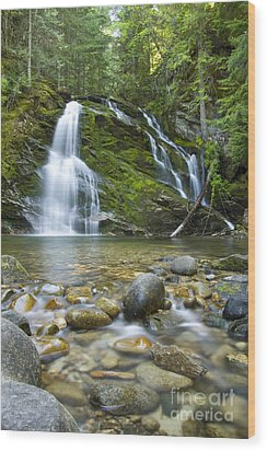 Snow Creek Falls Wood Print by Idaho Scenic Images Linda Lantzy