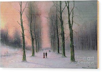Snow Scene Wanstead Park   Wood Print by Nils Hans Christiansen