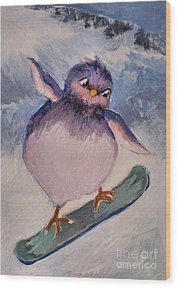 Snowboard Bird Wood Print by Diane Ursin
