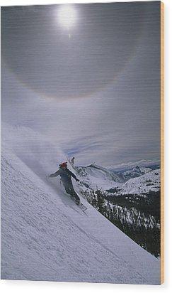 Snowboarding Down A Peak In Yosemite Wood Print by Bill Hatcher