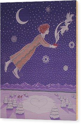 Snowflight Wood Print by Karen MacKenzie