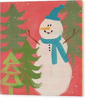Snowman In Blue Hat- Art By Linda Woods Wood Print by Linda Woods