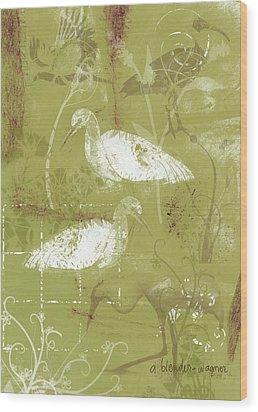 Snowy Egrets Wood Print by Arline Wagner
