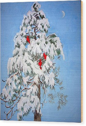 Snowy Pine With Cardinals Wood Print by Ethel Vrana
