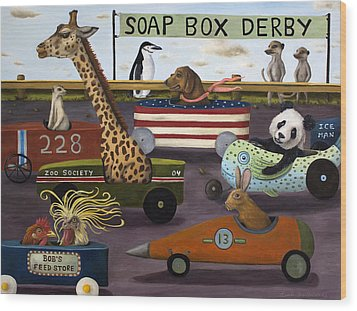 Soap Box Derby Wood Print by Leah Saulnier The Painting Maniac