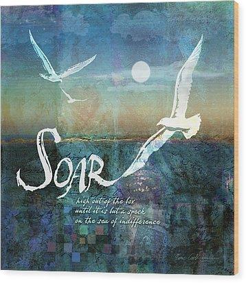 Soar Wood Print by Evie Cook