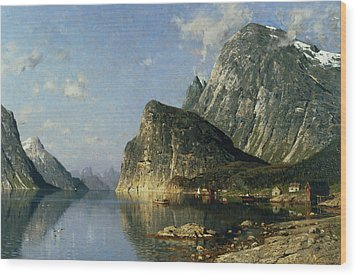Sogne Fjord Norway  Wood Print by Adelsteen Normann