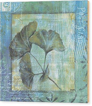 Spa Gingko Postcard 1 Wood Print by Debbie DeWitt