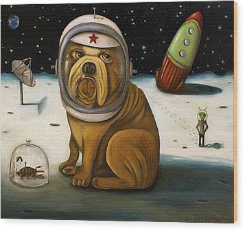 Space Crash Wood Print by Leah Saulnier The Painting Maniac