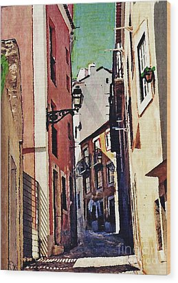 Spanish Town Wood Print by Sarah Loft