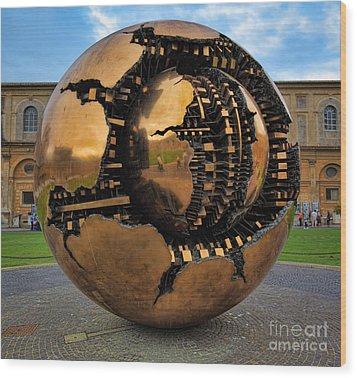 Sphere Within Sphere Wood Print by Inge Johnsson