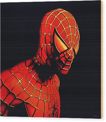 Spiderman Wood Print by Paul Meijering