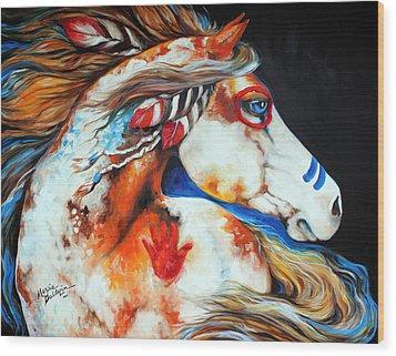 Spirit Indian War Horse Wood Print by Marcia Baldwin