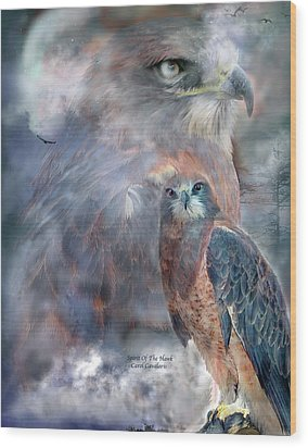 Spirit Of The Hawk Wood Print by Carol Cavalaris