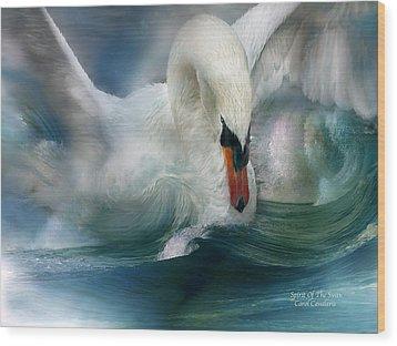 Spirit Of The Swan Wood Print by Carol Cavalaris