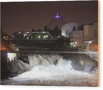 Spokane Falls Night Scene Wood Print by Carol Groenen