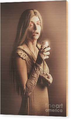 Spooky Vampire Girl Drinking A Glass Of Red Wine Wood Print by Jorgo Photography - Wall Art Gallery