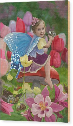 Spring Fairy Wood Print by Lucie Bilodeau