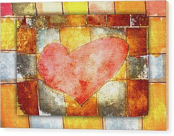 Squared Heart Wood Print by Carol Leigh