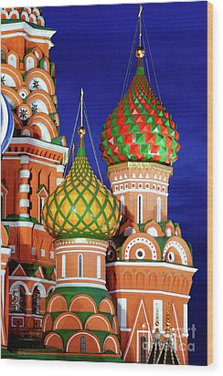 St Basils Cathedral In Moscow Russia Wood Print by Oleksiy Maksymenko