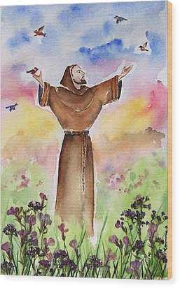 St Francis Of Assisi Wood Print by Regina Ammerman
