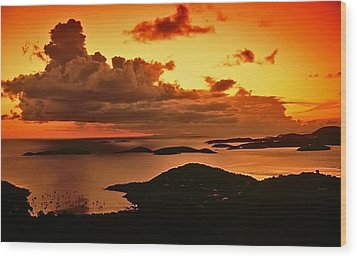 St. John Sunset Wood Print by Bill Jonscher