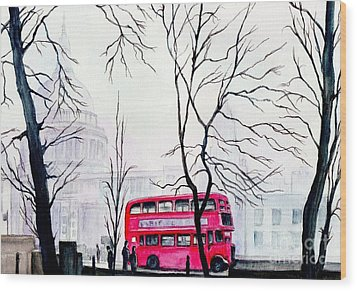 St Pauls Cathedral In The Mist  Wood Print by Morgan Fitzsimons