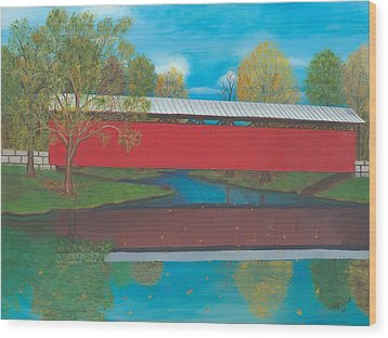 Staats Mill Covered Bridge Wood Print by TJ Word