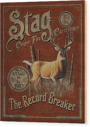 Stag Record Breaker Sign Wood Print by JQ Licensing