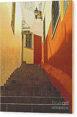 Stairway Guanajuato Wood Print by Mexicolors Art Photography
