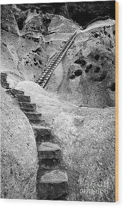 Stairways To The Kiva Wood Print by Sandra Bronstein