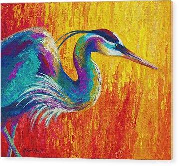 Stalking The Marsh - Great Blue Heron Wood Print by Marion Rose