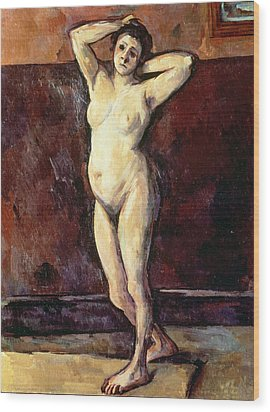 Standing Nude Woman Wood Print by Cezanne