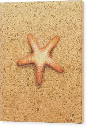 Star Fish Wood Print by Katherine Young-Beck