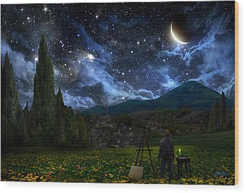 Starry Night Wood Print by Alex Ruiz