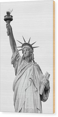 Statue Of Liberty, Black And White Wood Print by Sandy Taylor
