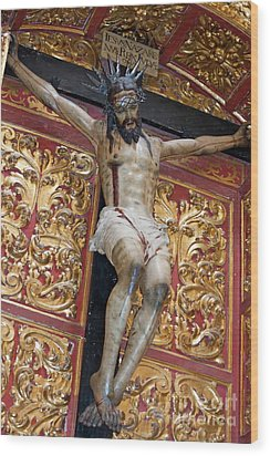 Statue Of The Crucifixion Inside The Catedral De Cordoba Wood Print by Sami Sarkis