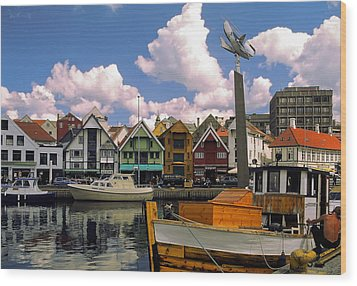 Stavanger Harbor Wood Print by Sally Weigand