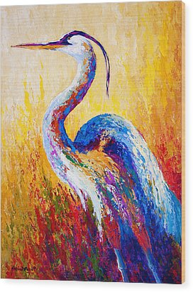 Steady Gaze - Great Blue Heron Wood Print by Marion Rose