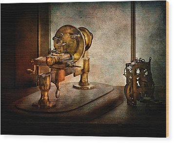 Steampunk - Gear Technology Wood Print by Mike Savad
