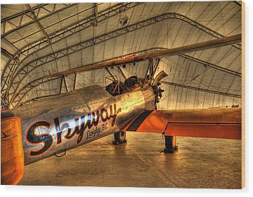 Stearman Wood Print by Jason Evans