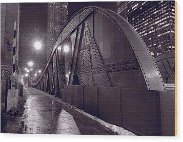Steel Bridge Chicago Black And White Wood Print by Steve Gadomski