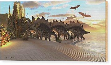 Stegosaurus Dinosaur Wood Print by Corey Ford
