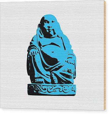 Stencil Buddha Wood Print by Pixel Chimp