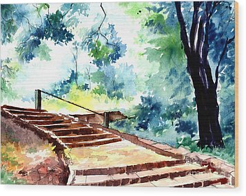 Steps To Eternity Wood Print by Anil Nene