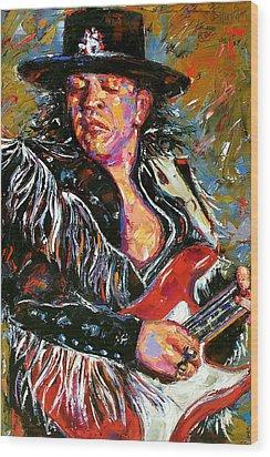 Stevie Ray Red Guitar Wood Print by Debra Hurd