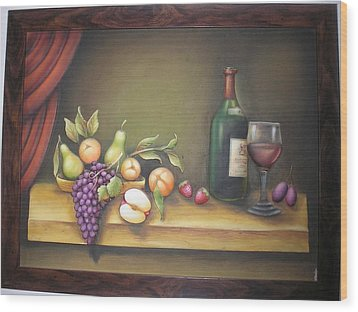 Still Life In 3-d Relief Work Wood Print by Prity Jain