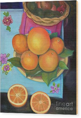 Still Life Oranges And Grapefruit Wood Print by Marlene Book
